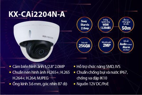 Camera bán cầu hồng ngoại KX-CAi2204N-A KBvision